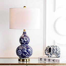 "JONATHAN Y Lee 27"" Ceramic Chinoiserie LED Table Lamp in Blue"