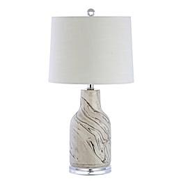 "JONATHAN Y Webb 23"" Ceramic LED Table Lamp in grey/White"