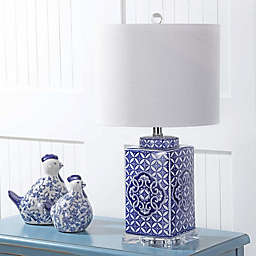 """JONATHAN Y Choi 23"""" Chinoiserie LED Table Lamp in Blue/White"""