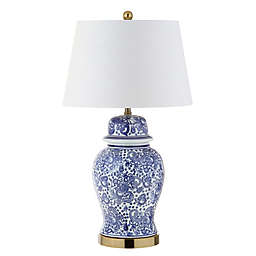 "JONATHAN Y Ellis 29.5"" Ceramic LED Table Lamp in Blue/White"