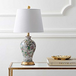 "JONATHAN Y Grace 24"" Floral LED Table Lamp in Multi/Brass"
