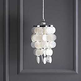 "JONATHAN Y 7"" Seashell LED Chandelier Pendant in White/Chrome"