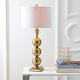 "JONATHAN Y Mackenzie 33"" Metal LED Table Lamp in Brass"