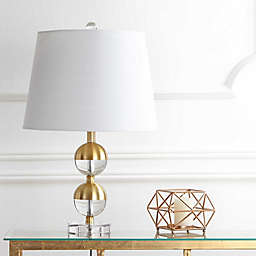 """JONATHAN Y Jules 23"""" Crystal Mini LED Table Lamp in Brass"""