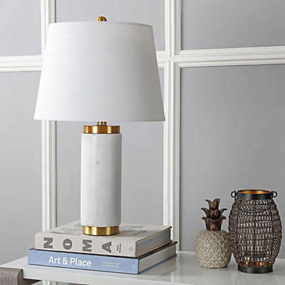 """JONATHAN Y Adams 23"""" Marble LED Table Lamp in White/Brass"""
