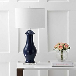 "JONATHAN Y 31"" Ceramic/Crystal LED Table Lamp in Navy/Clear"