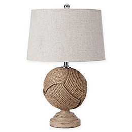 "JONATHAN Y Monkey's Fist 24"" Knotted Rope Table Lamp in Brown"