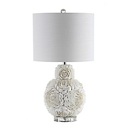 JONATHAN Y Seashell Rosette LED Table Lamp in Cream