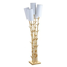 "JONATHAN Y Bamboo 5-Light Brass 65.5"" LED Floor Lamp in Gold"
