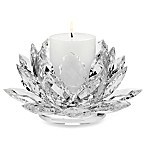 Godinger Dublin Crystal Lotus Pillar Candle Holder with Candle