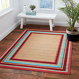 6833d3ed961c Miami Border Stripe Indoor Outdoor Rug in Beige Multi