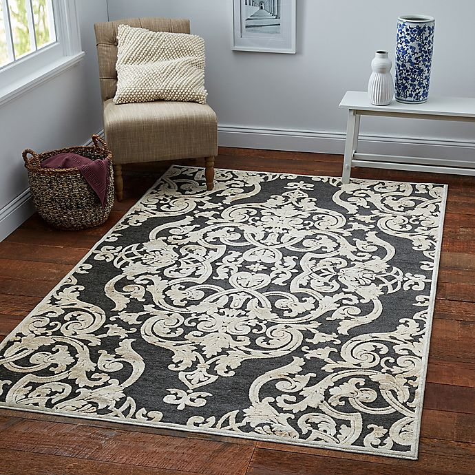 Alternate image 1 for Safavieh Paradise Collection Venetian Damask 5-Foot 3-Inch x 7-Foot 6-Inch Rug in Stone Anthracite