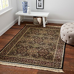 Verona Black Viscose Area Rug with Fringe