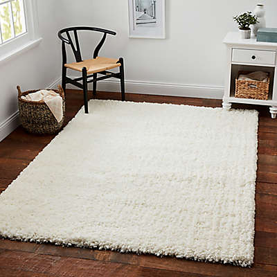 Carpet Art Deco Universal Microfiber Shag Rug in White