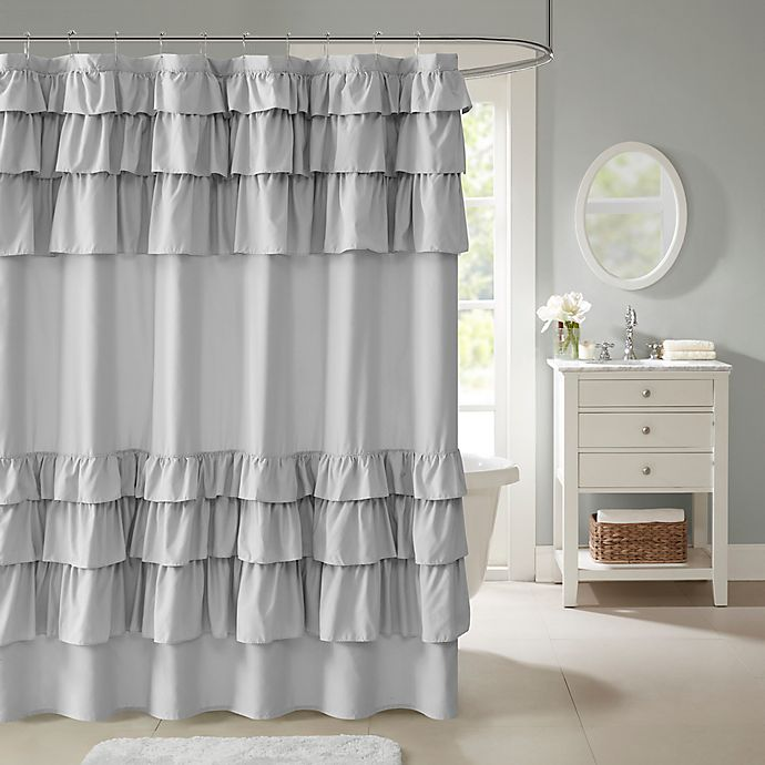 Alternate image 1 for Madison Park Grace Ruffled Shower Curtain in Grey