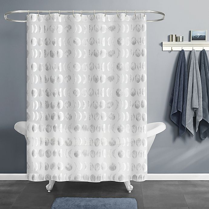 Alternate image 1 for Moon Phase PEVA Shower Curtain in Silver