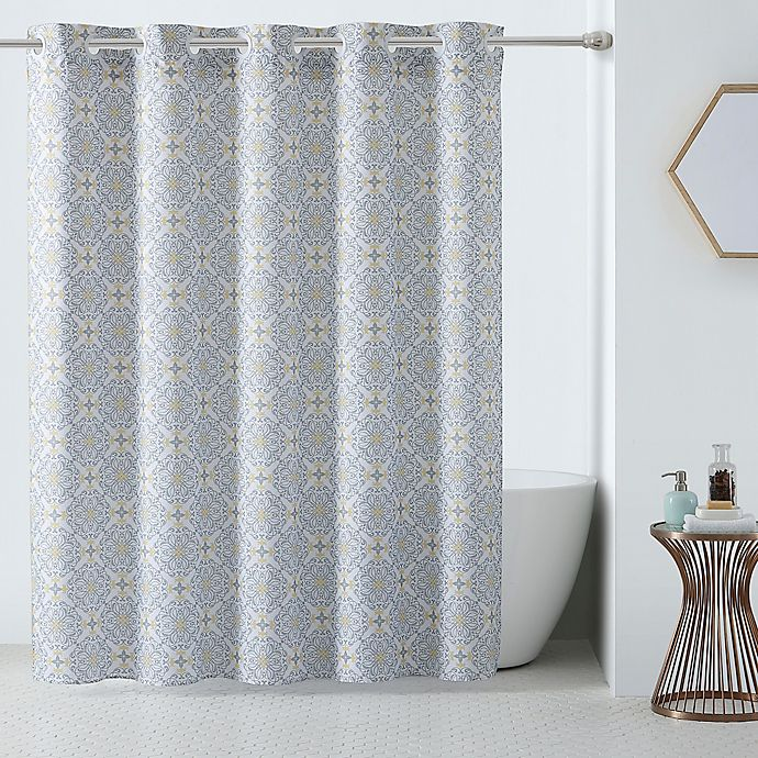 Alternate image 1 for Hookless® 3-in-1 Vervian Shower Curtain in Yellow/Grey