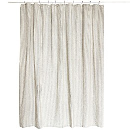 Farmhouse Ticking Striped Shower Curtain in Cream/Black