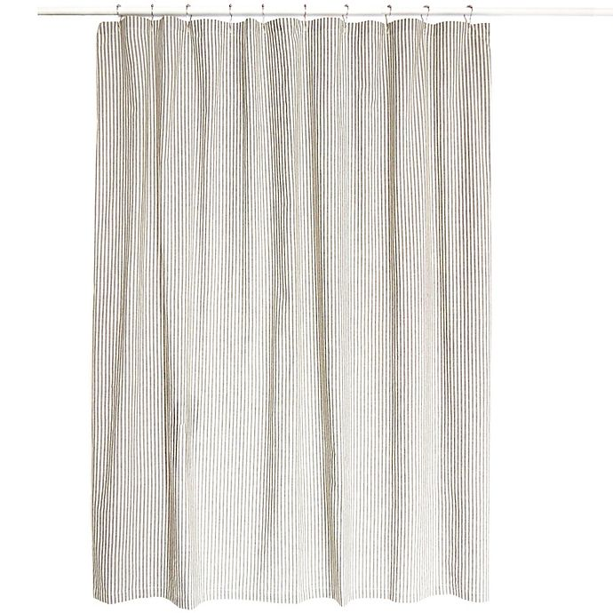 Farmhouse Ticking Striped Shower Curtain In Cream Black