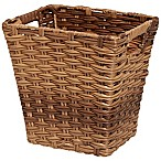 East Bluff Woven Wicker Wastebasket in Brown