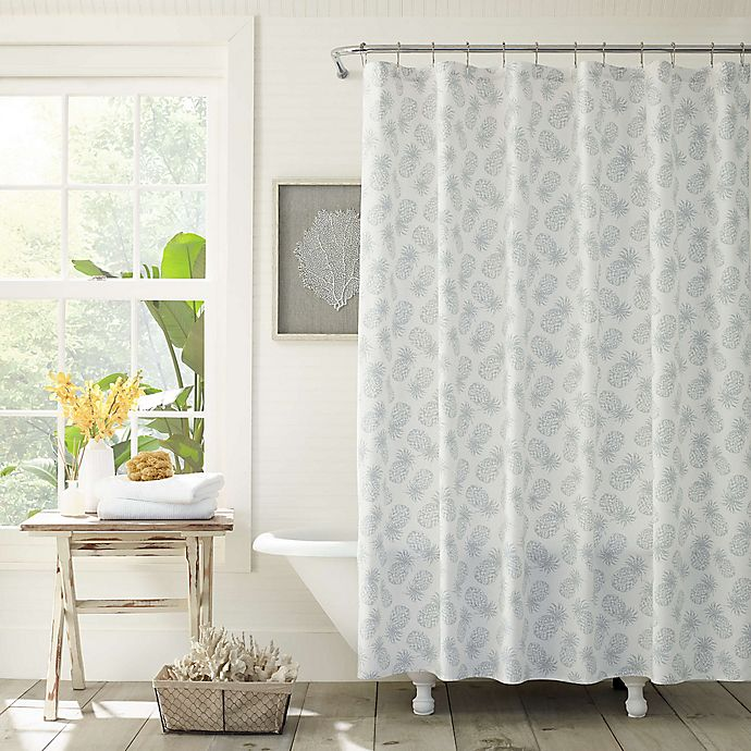 Tommy Bahama 174 Pineapple Cloud Shower Curtain In Grey Bed