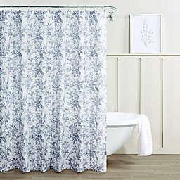 Laura Ashley® Annalise Floral Shadow Shower Curtain in Grey