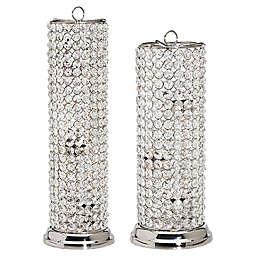 Godinger Glam Crystal Cylinder Tea Light Candle Holder in Silver