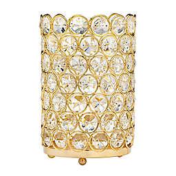 Godinger Glam Crystal Cylinder Tea Light Candle Holder in Gold