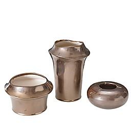 Madison Park Bowery Ceramic Vases in Bronze (Set of 3)
