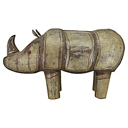 Moe's Home Collection Iron Rhinocerus Figurine in Antique