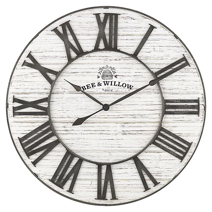 Bee Willow Home 26 Inch White Wash Wall Clock Bed Bath Beyond