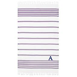 Linum Home Textiles Herringbone Pestemal Beach Towel in Lilac/White