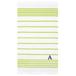 Linum Home Textiles Herringbone Pestemal Beach Towel in Pistachio/White