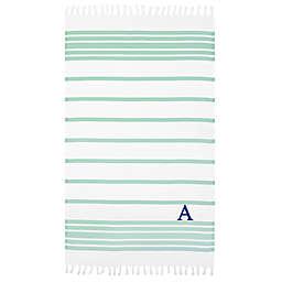 Linum Home Textiles Herringbone Pestemal Beach Towel in Soft Aqua/White