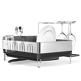 simplehuman® Steel Frame Dish Rack with Wine Glass Holder
