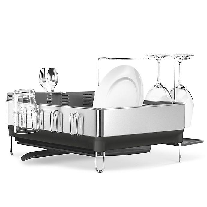 Alternate image 1 for simplehuman® Steel Frame Dish Rack with Wine Glass Holder