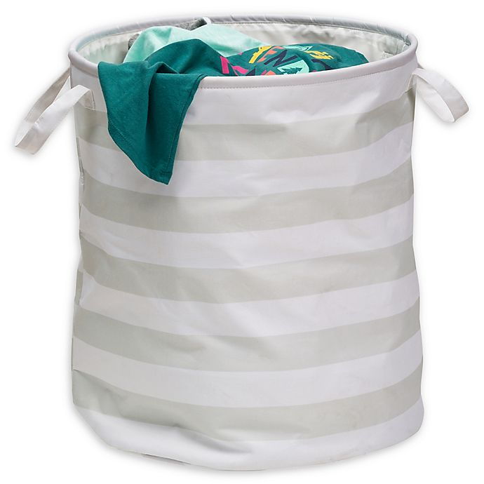 Alternate image 1 for Honey-Can-Do® Kids Collection Laundry Hamper in Grey Stripe