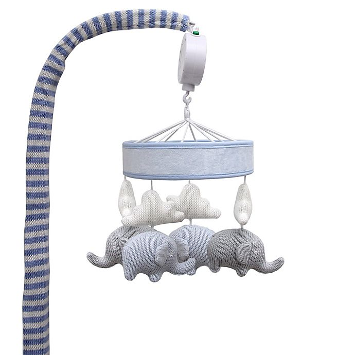 Alternate image 1 for Living Textiles Knitted Elephant Musical Mobile in Grey