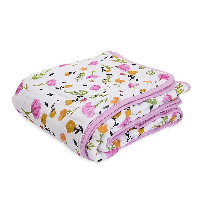 Alternate image 1 for Little Unicorn Berry & Bloom Cotton Muslin Quilt in Pink