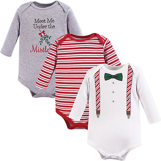 Alternate image 1 for 3-Pack Christmas Long Sleeve Bodysuits in Red