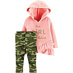 carter's® Size 6M 2-Piece Ruffled Hoodie and Pant Set in Light Pink