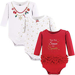 3-Pack Christmas Long Sleeve Bodysuits in Red