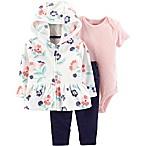carter's® Size 3M 3-Piece Floral Cardigan, Bodysuit, Pant Set