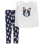 carter's® Size 3M 2-Piece French Bulldog Top and Pant Set in Ivory