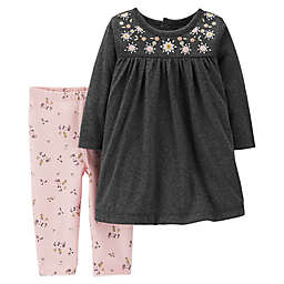 carter's® 2-Piece Embroidered Dress and Legging Set in Heather