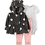 carter's® Size 3M 3-Piece Polka Dot Layette Set in Charcoal