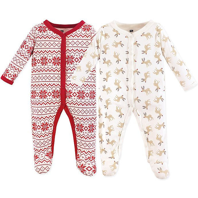 Alternate image 1 for Hudson Baby® 2-Pack Christmas Reindeer Long Sleeve Footies in Red