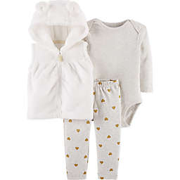 carter's® 3-Piece Gold Heart Vest, Bodysuit and Pant Set in Ivory