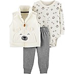 carter's® Size 3M 3-Piece Bear Little Vest Set in Ivory