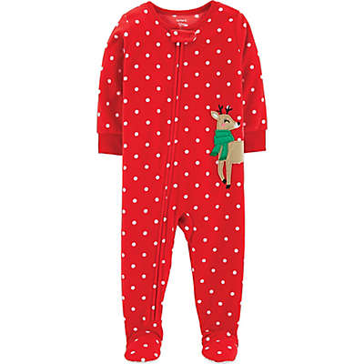 carter's® Reindeer Polka Dot Footed Pajama in Red